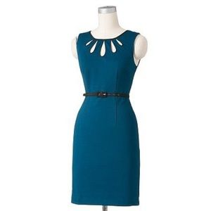 Apt. 9 Teal Tear Drop Cut Out Cap Sheath Dress